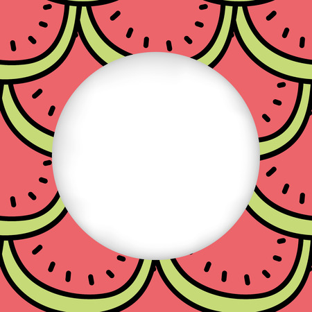 cuted: Greeting card background. Paper cut out, white shape with place for text. Frame seamless pattern. Seamless summer background. Hand drawn pattern. Bright colorful slices of watermelon summer pattern