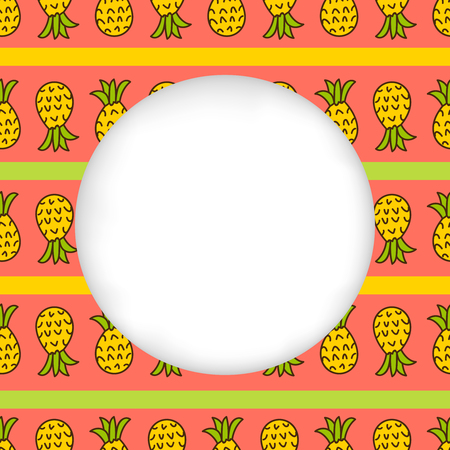 estival: Greeting card background. Paper cut out, white shape with place for text. Frame with seamless pattern. Seamless summer background. Hand drawn pattern. Pineapple striped summer pattern. Summer pattern