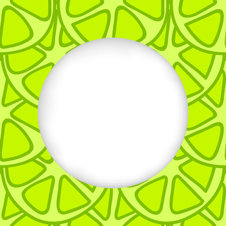 estival: Greeting card background. Paper cut out, white shape with place for text. Frame with seamless pattern. Seamless summer background. Hand drawn pattern. Bright and colorful green lime summer pattern Illustration