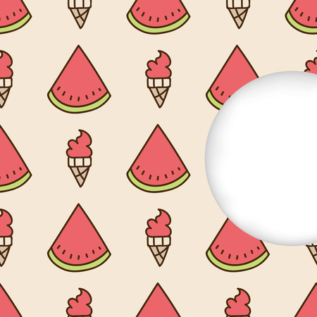estival: Greeting card background. Paper cut out, white shape with place for text. Frame with seamless pattern. Seamless summer hand drawn pattern. Slices of watermelon and watermelon ice cream cone Illustration