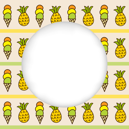 estival: Greeting card background. Paper cut out, white shape with place for text. Frame with seamless pattern. Seamless summer background. Hand drawn pattern. Bright and colorful ice cream cone and pineapple Illustration