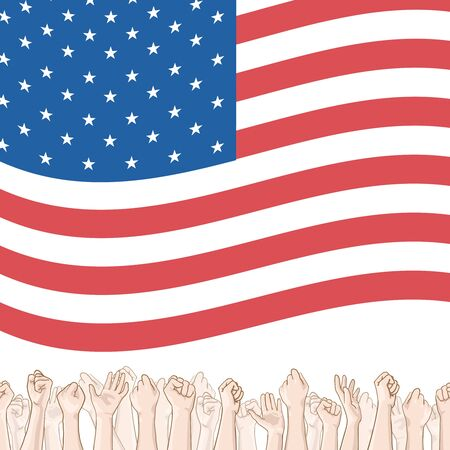 crowd happy people: Happy Independence Day greeting card. 4th of July vector design element. Independence Day background. Crowd of people and waving US flag