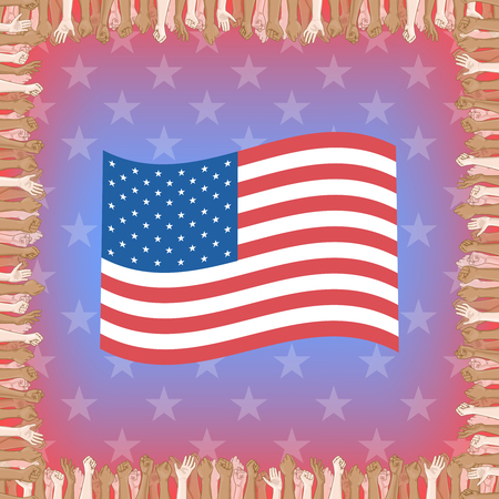 crowd happy people: Happy Independence Day greeting card. 4th of July vector design element. Independence Day background. Multinational crowd of people and waving US flag Illustration