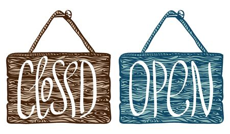 provincial: Open and closed sign. Vector frame with texture of wood, hand drawn. Wooden signboard with rope hanging on a nail. Isolated on white background.