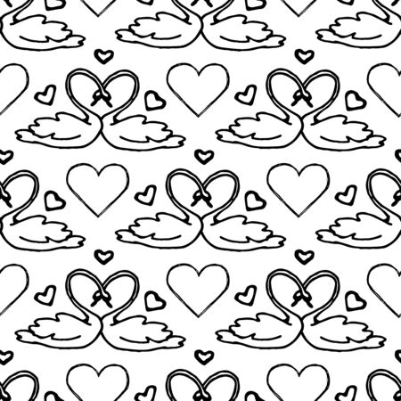 heart seamless pattern: Couple of swans, symbol of bride and groom. Heart seamless pattern. Design element for wedding greeting card, valentines day invitation, honeymoon postcard. Vintage style, hand drawn pen and ink