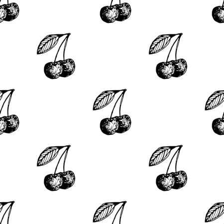 black berry: Cherry berry. Black and white seamless pattern. Retro design element for wedding greeting card, valentines day invitation, honeymoon postcard, t-shirt. Vintage style, hand drawn pen and ink