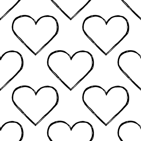 heart seamless pattern: Heart seamless pattern. Design element for wedding greeting card, valentines day invitation, honeymoon postcard. Vintage style, hand drawn pen and ink Illustration