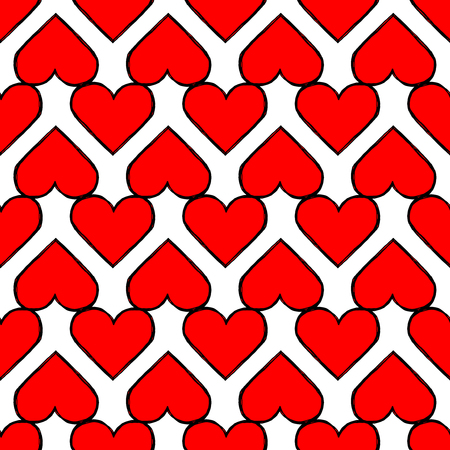 Heart seamless pattern. Design element for wedding greeting card, valentines day invitation, honeymoon postcard. Vintage style, hand drawn pen and ink Stock Photo