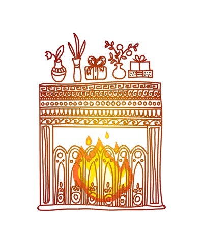 snug: Fireplace, gifts and flowers. Cosy and warm hand drawn design element for Christmas or New Year greeting card. Merry Christmas and Happy New Year