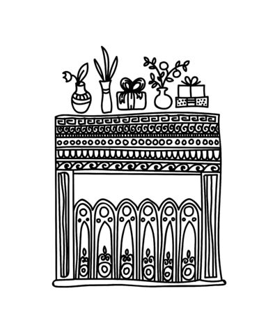 crackling: Fireplace, gifts and flowers. Black and white line art. Cosy and warm hand drawn design element for Christmas or New Year greeting card. Merry Christmas and Happy New Year