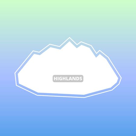 White silhouette of mountains and blue sky. Vector background for flyer, advertising, banner, ads, poster