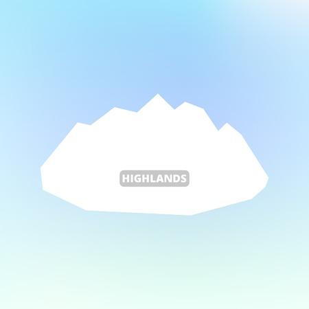 silhouette blanche de montagnes et de ciel bleu. Vecteur de fond pour flyer, publicité, bannière, annonces, poster