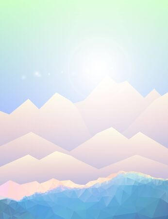 mountain view: Geometric polygonal mountain landscape. Vector background of polygonal low poly mountain view. Highlands landscape, vector background for flyer, advertising, banner, ads, poster