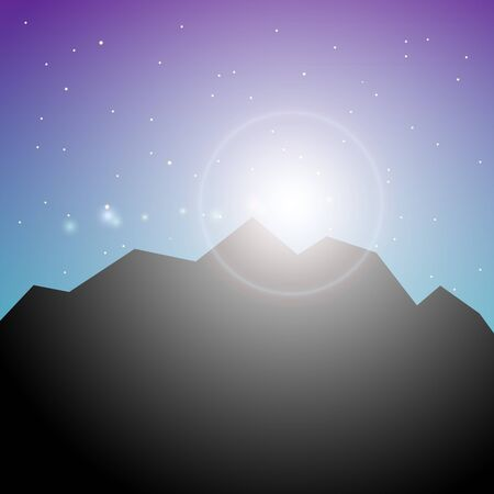 mountainous: Black silhouette of mountains and starry night sky. Vector background for flyer, advertising, banner, ads, poster. Polar night landscape. Sun and dark sky at the North Pole Illustration