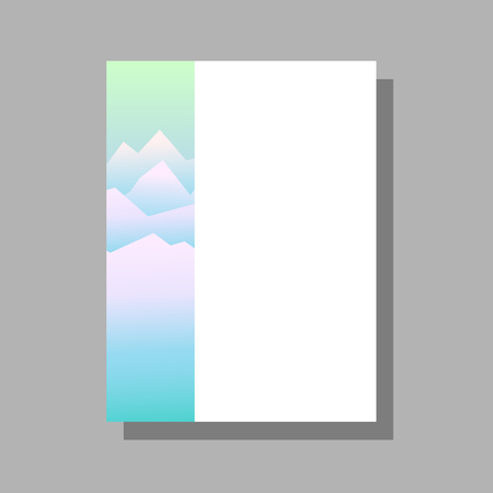 Vector template for poster, flyer, banner, card for a travel agency or a sports shop. Image of snowy mountains in the mist. Template with mountain background