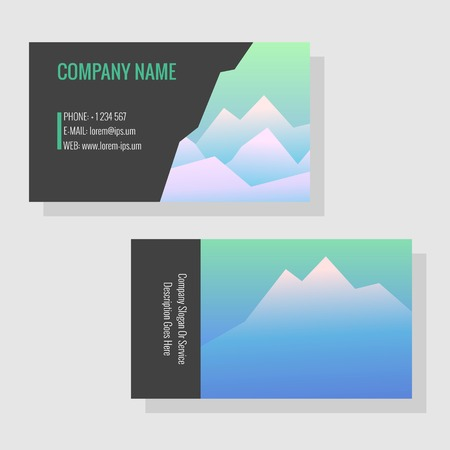 Vector template for business cards. Image of snowy mountains. Business card or flyer for a travel agency or a sports shop. Template with mountain background