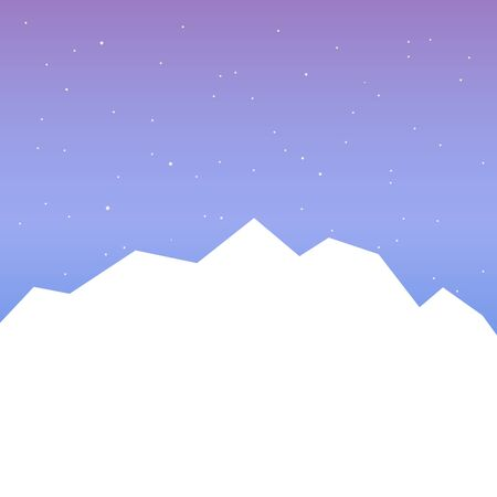 White silhouette of mountains and starry night sky. Vector background for flyer, advertising, banner, ads, poster