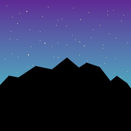 Black silhouette of mountains and starry night sky. Vector background for flyer, advertising, banner, ads, poster Illustration