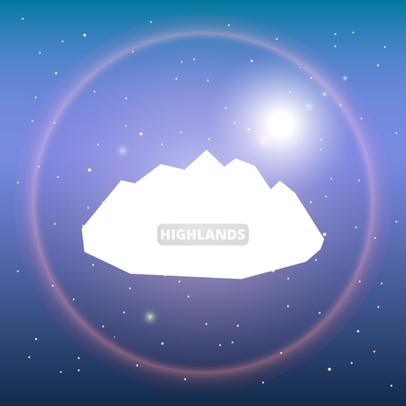 White silhouette of ice mountains and starry night sky. Vector background for flyer, advertising, banner, ads, poster. Space background