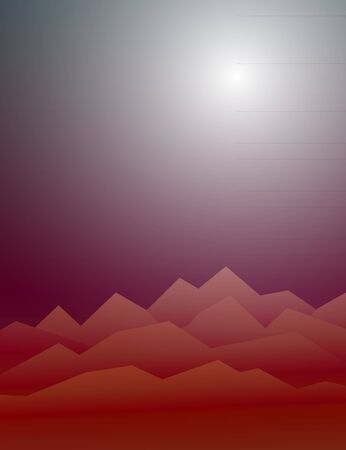 Creepy mountains in the mist under the hazy sun. Highlands landscape, vector background for horror Halloween flyer, advertising, banner, ads, poster Illustration