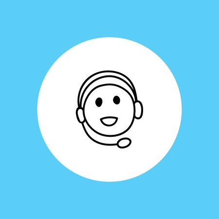 face with headset: Webinar icon. Symbol of happy listening person with headphones. Smiling face