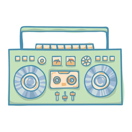 boombox: Boombox with cassette. Portable cassette player, hand drawn vector retro boombox illustration, isolated on white. Suitable for banner, ad, t-shirt design. Vintage boom box vector design element