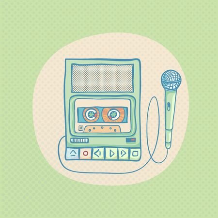 tape recorder: Handheld tape recorder with microphone. Hand drawn retro illustration with halftone. Suitable for banner, ad, t-shirt design. Vintage design element Stock Photo