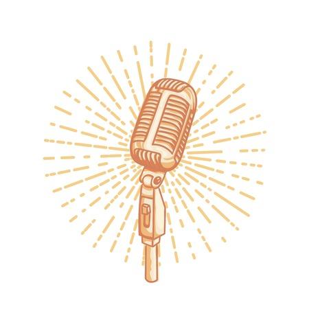 Retro gouden microfoon. Hand getrokken retro illustratie met zonnestraal, geïsoleerd op wit. Geschikt voor banner, advertentie, t-shirt design. Vintage design element Stock Illustratie