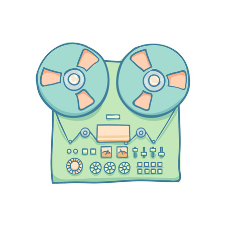 tape recorder: Reel-to-reel audio tape recorder. Handheld reel tape recorder, hand drawn retro illustration, isolated on white. Suitable for banner, ad, t-shirt design. Vintage tape spool design element Illustration