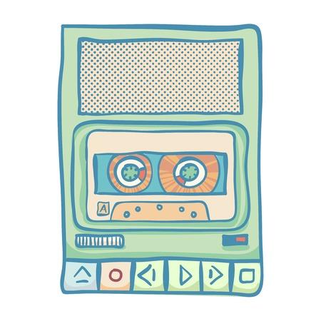 tape recorder: Cassette tape recorder. Handheld tape recorder, hand drawn retro illustration, isolated on white. Suitable for banner, ad, t-shirt design. Vintage design element