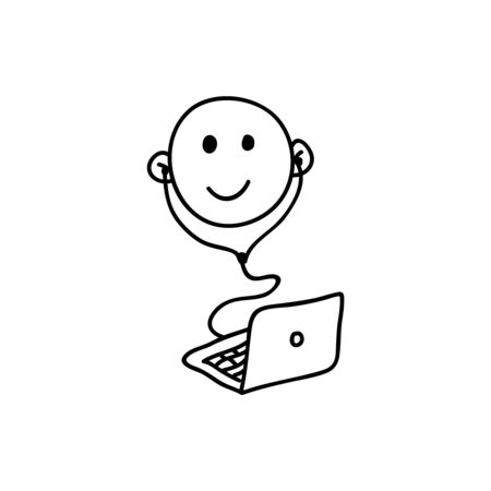 face with headset: Webinar line icon, black and white. Symbol of happy listening person with headphones. Smiling face Illustration