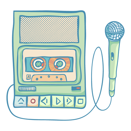 tape recorder: Cassette tape recorder with microphone. Handheld tape recorder, hand drawn retro illustration, isolated on white. Suitable for banner, ad, t-shirt design. Vintage design element