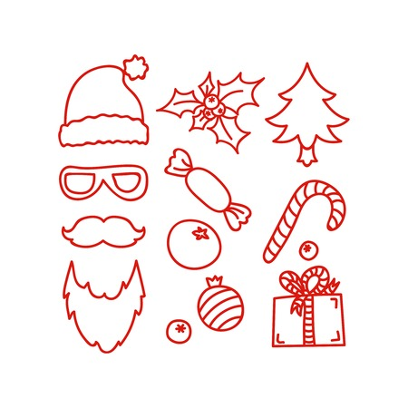 Hand drawn Christmas and New Year icons,  design element, red line illustration isolated on white. Santa Claus symbols and attributes. Christmas hat, gift box, sweet, candy cane, holly, tree