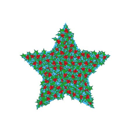 Holly star. Vector hand drawn background, design element for Christmas and New Year greeting card or banner. Holly with berry, isolated on white Illustration
