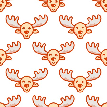 Moose. Vector hand drawn tileable background, design element for greeting card, fabric, wrapping paper. Christmas and New Year deer seamless pattern