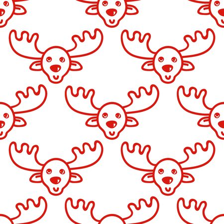 Moose. Vector hand drawn tileable background, design element for greeting card, fabric, wrapping paper. Christmas and New Year deer red seamless pattern