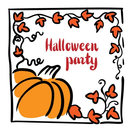 October 31 design element. Pumpkin, tendrils and large lobed leaves. Greeting or invitation card template, hand drawn sketchy illustration. Halloween party clip-art. Red, black, orange and white Illustration