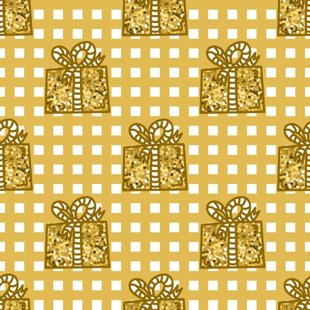 Gift box with ribbon, golden vector seamless pattern. Hand drawn tileable background, design element for gift shop or souvenir shop flyer, banner, coupon, greeting card and other print advertising