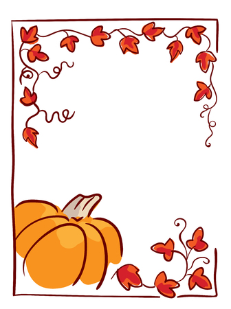 Pumpkin with tendrils and large lobed leaves. Halloween greeting or invitation card vertical template, hand drawn sketchy illustration. Red, orange and brown colors, isolated on white Illustration