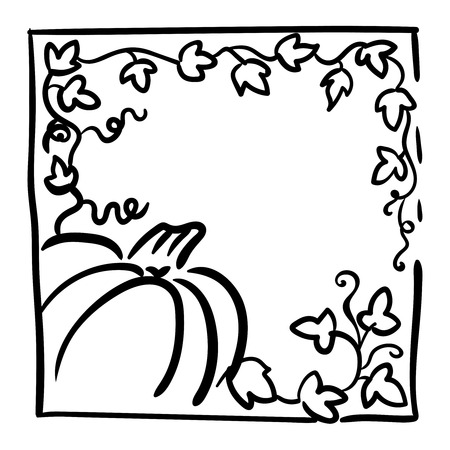 tendrils: October 31 design element. Pumpkin, tendrils and large lobed leaves. Greeting or invitation card template, hand drawn sketchy illustration. Halloween party clip-art. Black and white, thick line sketch Illustration