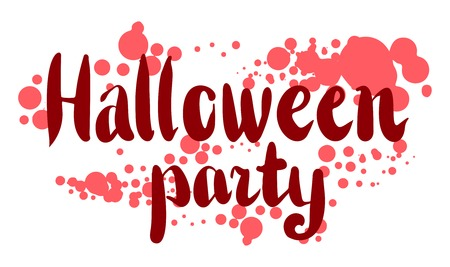 October 31 lettering, greeting or invitation card design element, hand drawn sketchy illustration. Halloween party clip-art. Red wording, isolated on white, with blood blood splatter effect Illustration