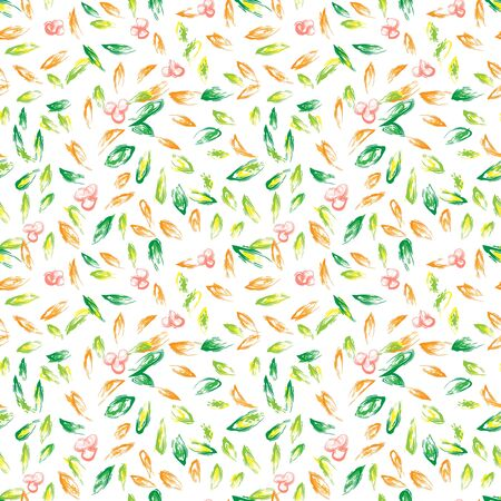 Autumn hand drawn vector background. Colorful leaves seamless pattern. Bright tileable design element for postcard, greeting card, banner or print advertising
