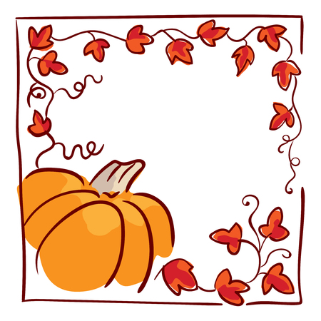 tendrils: October 31 design element. Pumpkin, tendrils and large lobed leaves. Greeting or invitation card template, hand drawn sketchy illustration. Halloween party clip-art. Red, black, orange and white Illustration