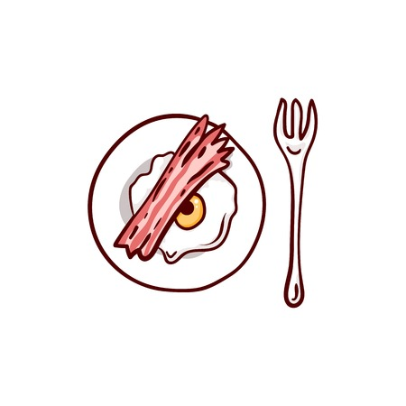 Bacon and eggs with eyeball and meat paw. Halloween lunch clip-art, isolated on white. Hand drawn sketchy icon, design element for halloween party invitation card, greeting card, banner, coupon Illustration