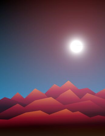 31st: Halloween vector. Design element for October 31st poster or invitation card. Scary mountain landscape with Moon
