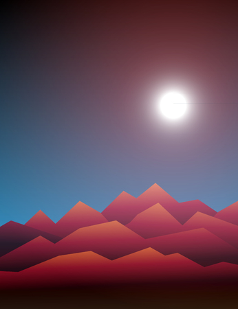 31st: Halloween background. Design element for October 31st poster. Scary mountain landscape with Moon