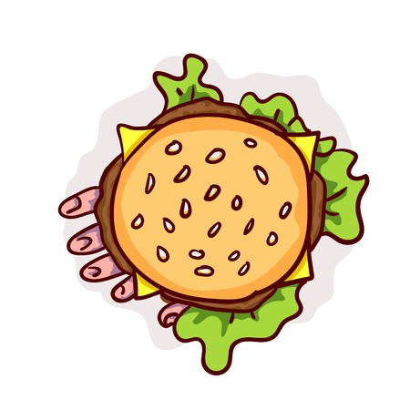 Dead man hand in cheeseburger. Halloween fast food clip-art, isolated on white. Hand drawn cartoon sketchy icon, design element for halloween party invitation card, sticker, greeting card Stock Photo