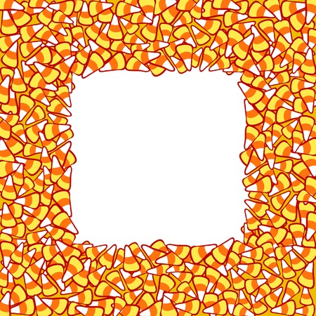 sweetstuff: Candy corn frame, isolated on white. Halloween vector clip-art. Hand drawn sketchy background, October 31 design element for halloween party invitation card