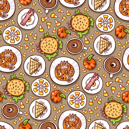 bacon and eggs: Halloween meal seamless pattern on brown. Assortment of dips with scary food, top view. Hand drawn sketchy background, design element for halloween party invitation or web banner