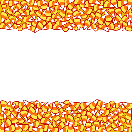 october 31: Candy corn double border, isolated on white. Halloween vector frame. Hand drawn sketchy background, October 31 design element for halloween party invitation card